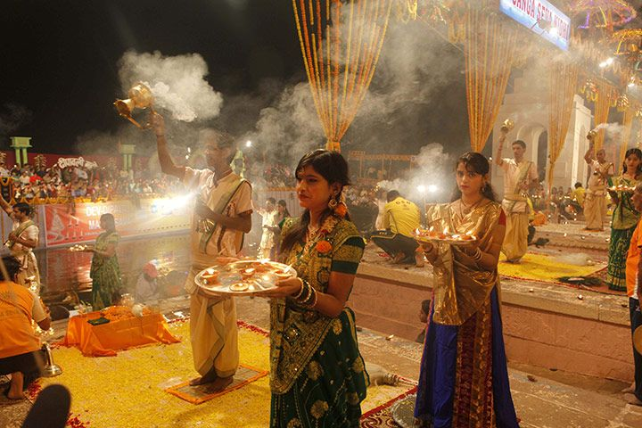 Varanasi, India: People participate in the Dev Deepavali festival on the banks of the river Ganges