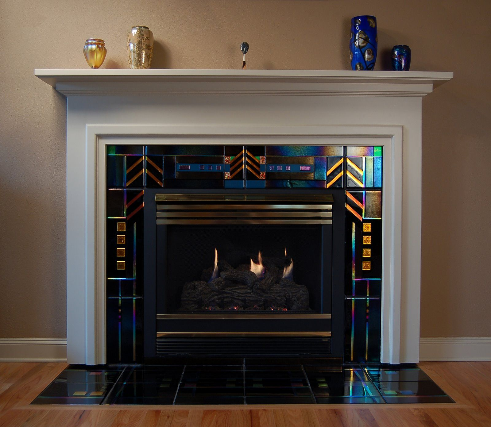 Ideas For Tile Around Fireplace: Art Glass Tiles For Fireplace...not For