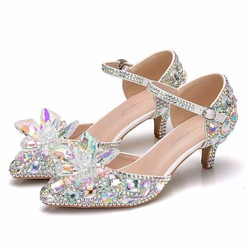 c2bd21a29e7 Women s PU(Polyurethane) Spring   Summer Sweet Wedding Shoes Kitten Heel  Pointed Toe Rhinestone