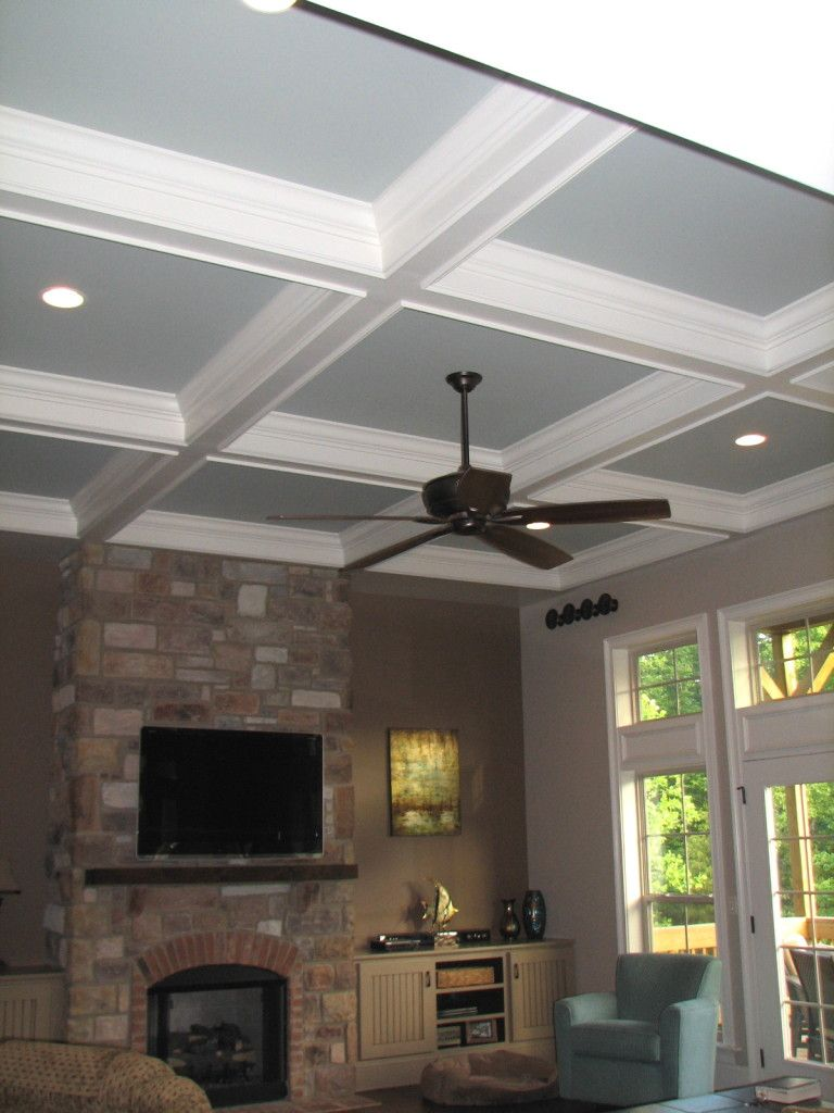 Wall Colors · Beautiful Coffered Ceiling In A Family Room