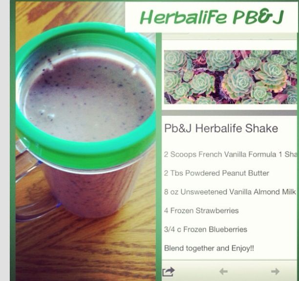 Pb J Shake Herbalife Shake Recipes Herbalife Herbalife Recipes