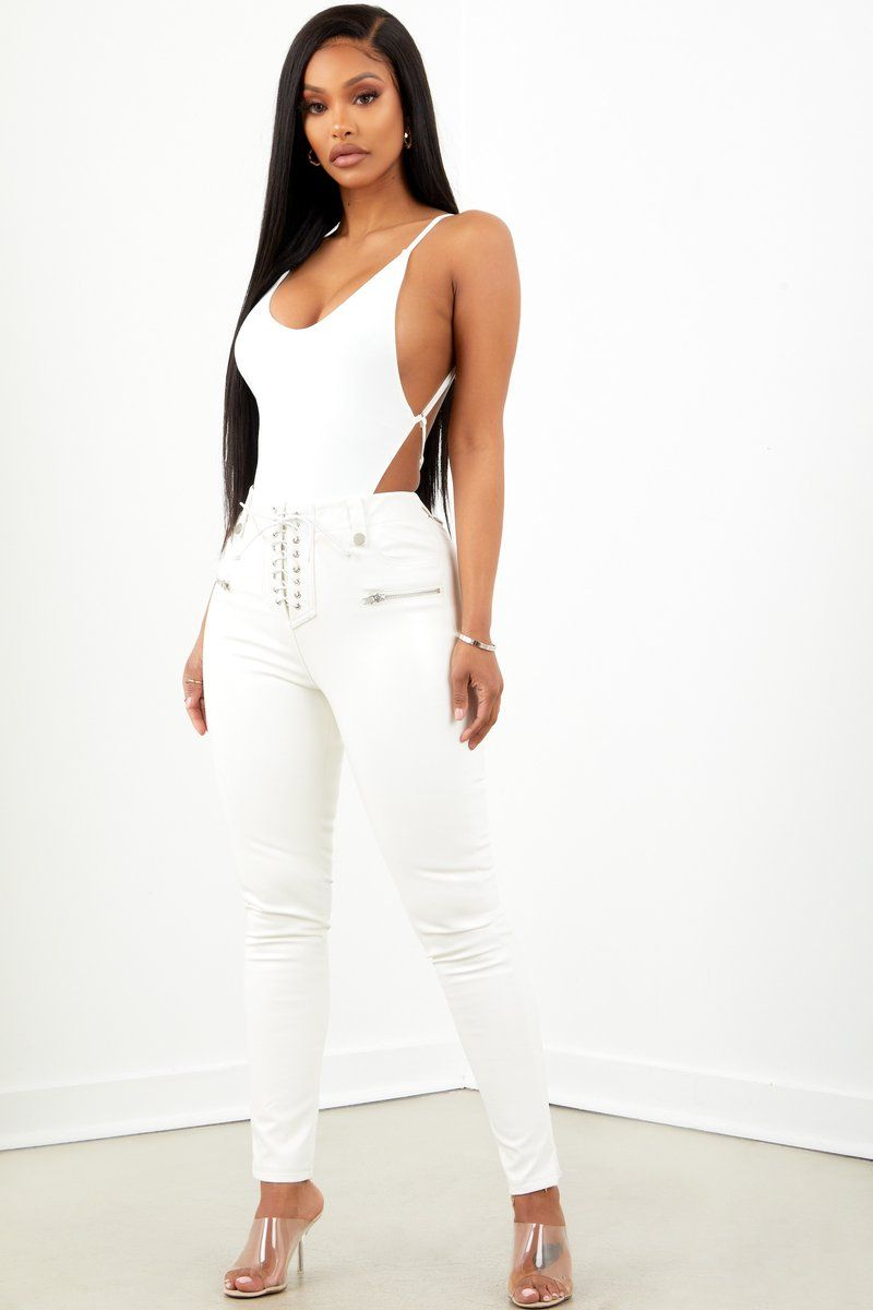 1afe75cdfe36 White Lace Up PU Leather Pant in 2019   summa   Pants, Leather, Lace up