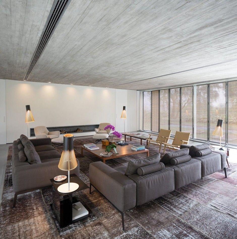 Open layout house concept by studio mk27 - Casa P By Studio Mk27 Gray Sofaopen Layoutcontemporary