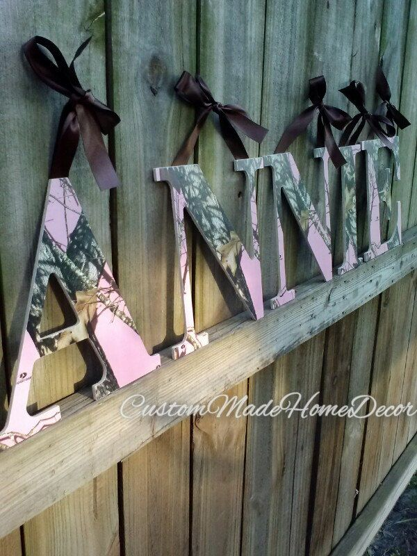 9 1 2 Pink Mossy Oak Camo Letters By Custommadehomedecor
