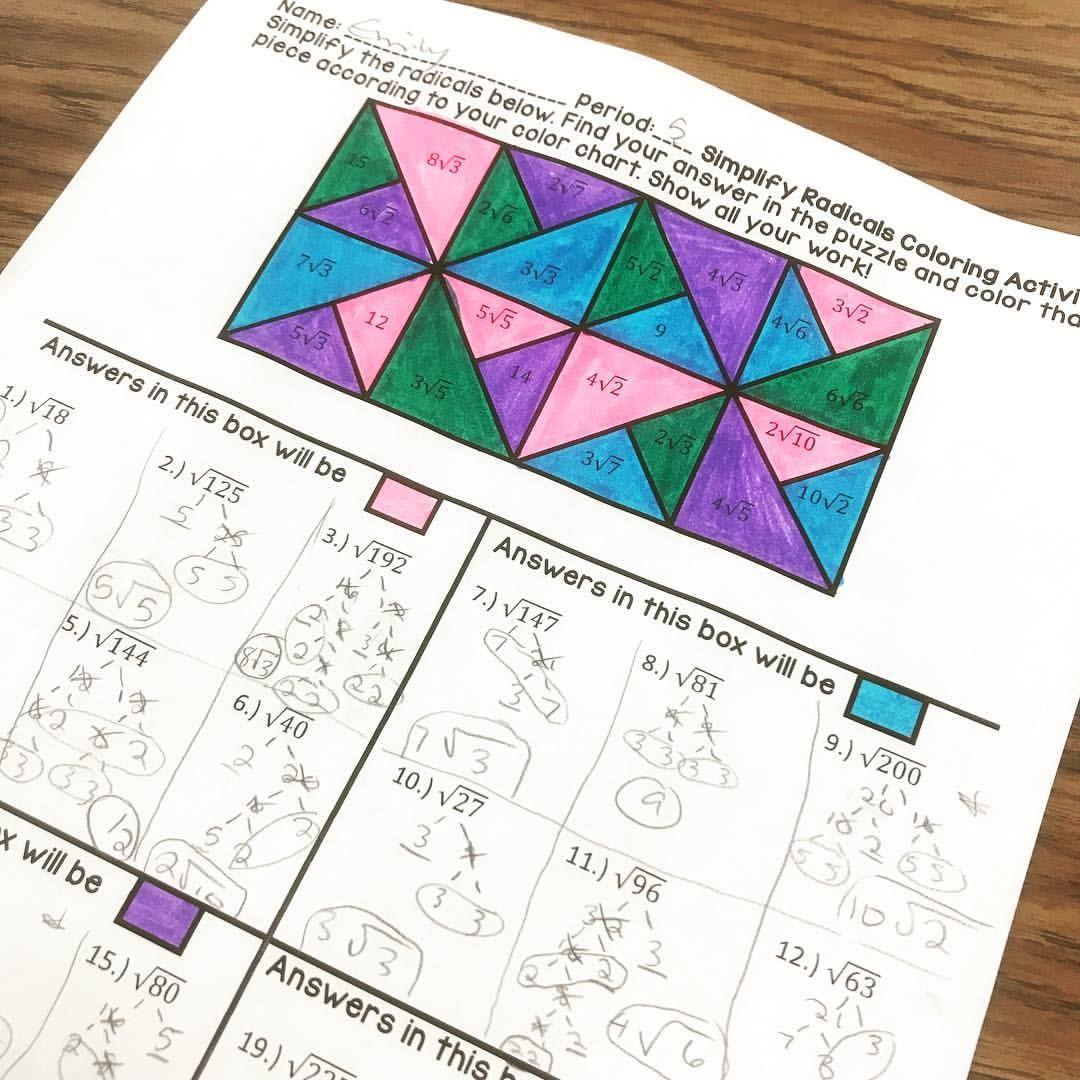 Simplifying Radicals Coloring Fun 2