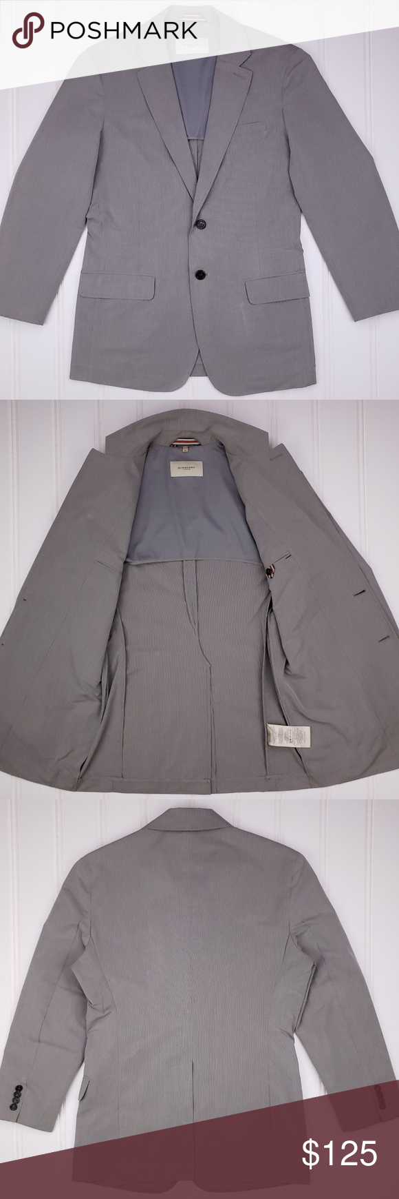Burberry London Sport Coat Sz XL Gray Cotton Blend