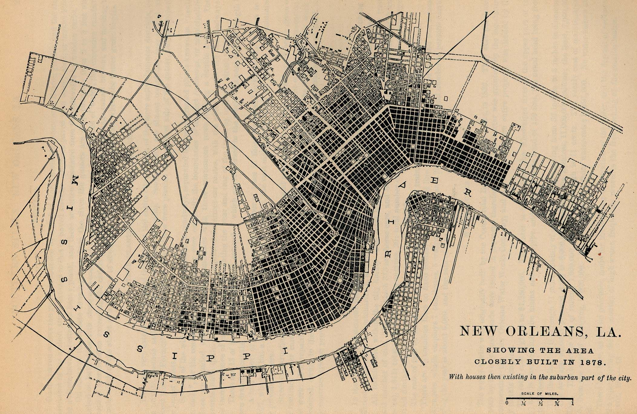 New Orleans La Showing The Area Closely Built In 1878 With