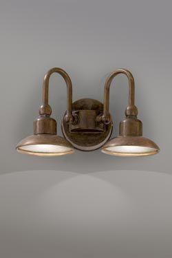 Applique double avec support rond cuivre et laiton patin for Luminaire exterieur puissant