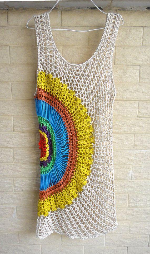 Crochet Dress Boho Summer Beach Dress | Vestidos tejido | Pinterest ...