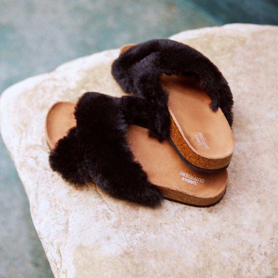 UO Fae Crossed Faux Fur Pool Sliders