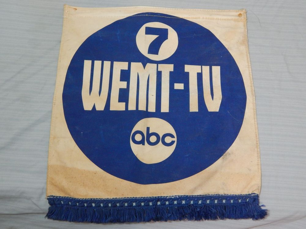 Vintage ABC TV Banner WEMT-TV Channel 7 Bangor Maine | Cool Things