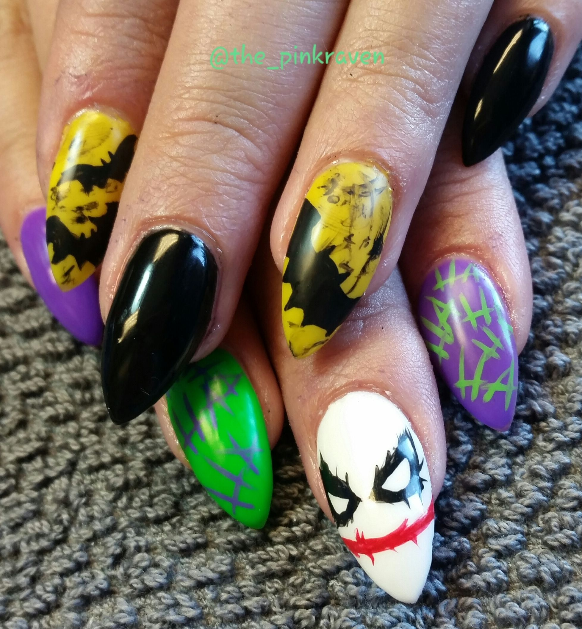 halloween nail art handpainted with sculpted acrylic. black nails. batman joker bats yellow @ the-pinkraven