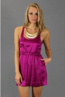Thayer: Open Back Magenta Dress   - Available at www.shop312.com -   This magenta silk charmeuse sleeveless dress by Thayer has an elastic banded waist and racer-back with a key hole cut-out detailing.