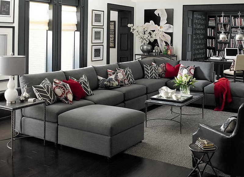 Large U Shaped Sectional Sofa With Gray Accents Interior Design Decor Decorating Ideas Living Room Living Room Grey Living Room White Living Room Red