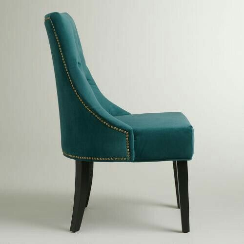 Delightful My Dining Room Chairs? World Market Teal Nail Head Velvet Upholstery Tufted  Dining Chairs!