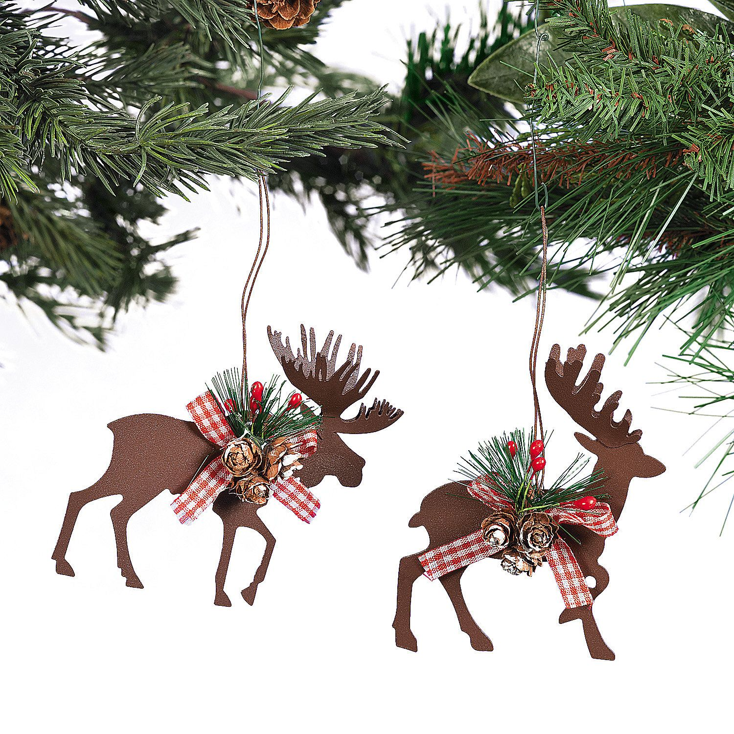 Holly christmas ornaments - Die Cut Moose Deer Christmas Ornaments Terrysvillage Com Decorated With Holly Miniature