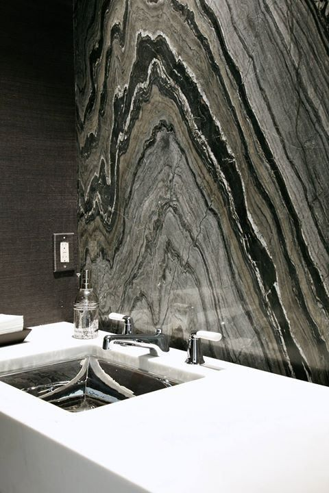 Calacatta Lincoln Marble Countertop and Silver Brown Wave Marble ...