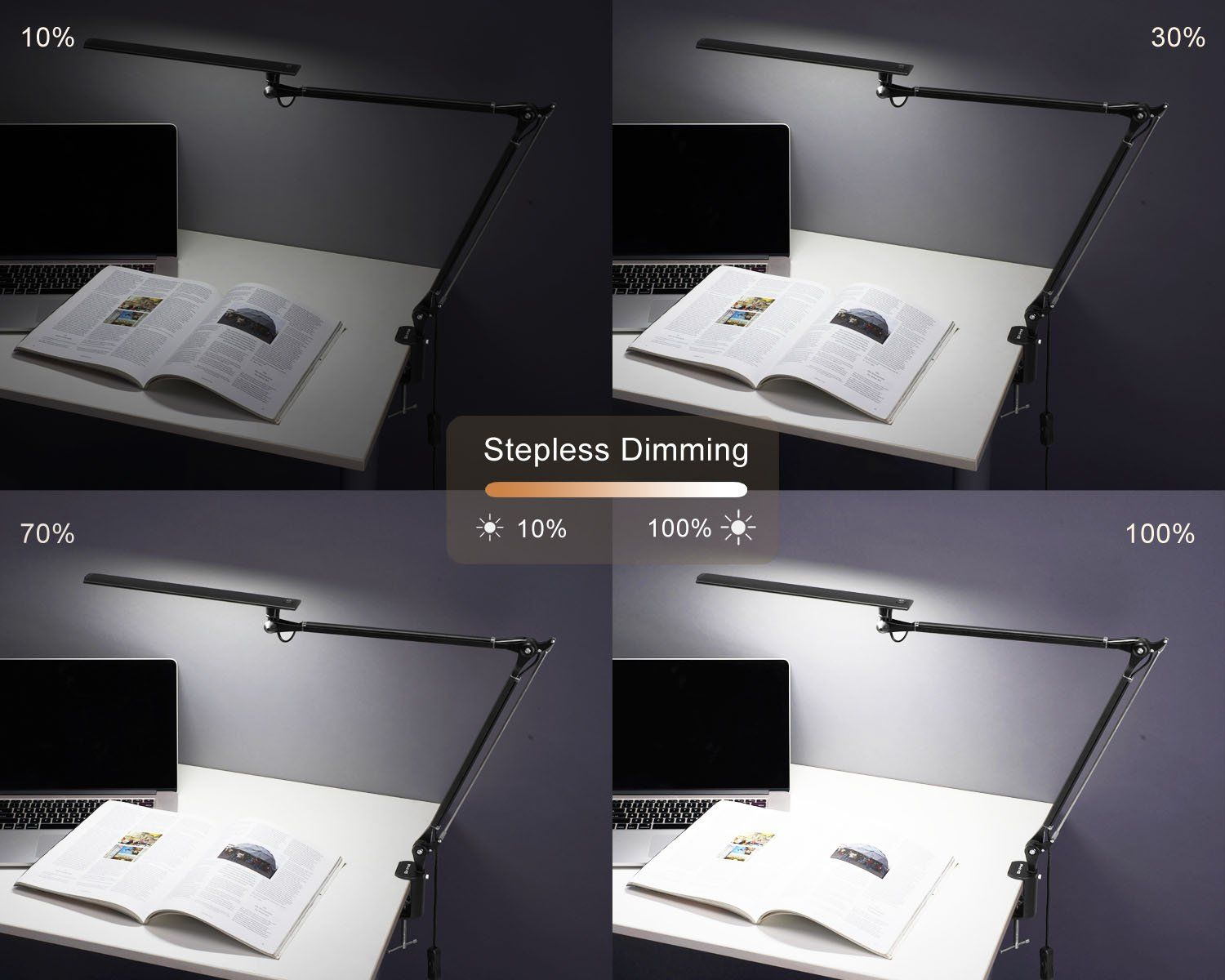 Metal Swing Arm Dimmable Drafting Phive LED Desk Lamp Architect Task Lamp