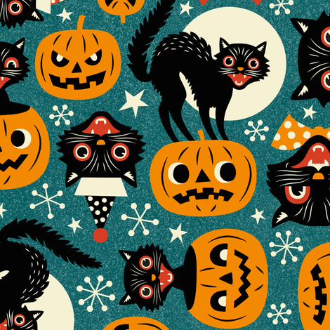 Colorful Fabrics Digitally Printed By Spoonflower Spooky Vintage Cats And Pumpkins Dark Blue Large Scale Vintage Halloween Art Retro Halloween Halloween Fabric