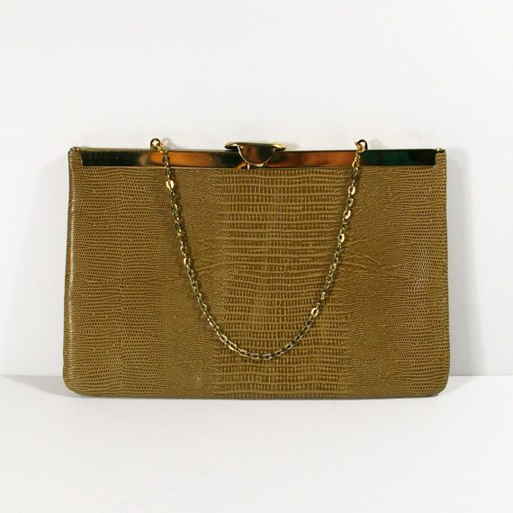 Leather Etra Clutch Purse, Vintage 60s Embossed Snakeskin Look Leather Purse with Chain, Convertible Dinner Evening Clutch