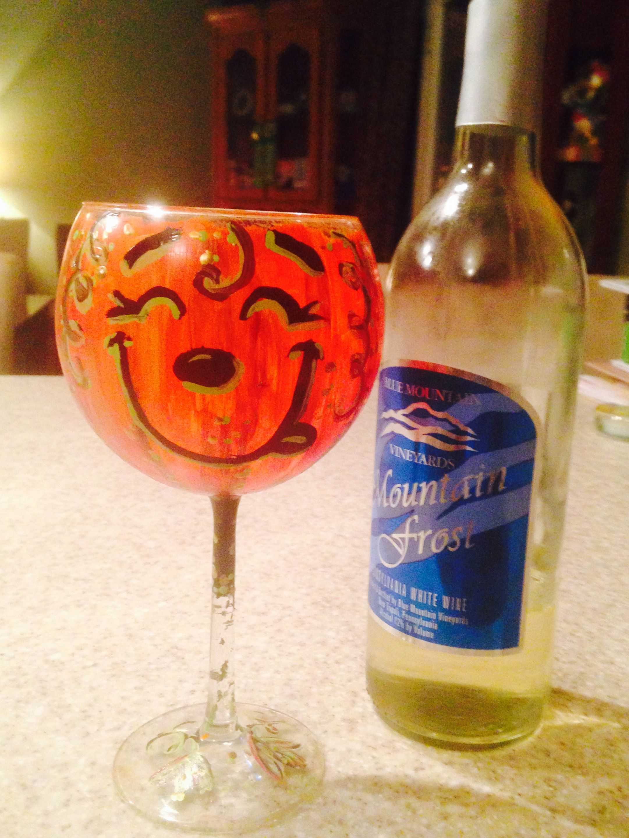Hand-painted wine goblet from Paint-N-Sip party at Blue Mountain Vineyards, PA. Great idea for Halloween party with the ladies!