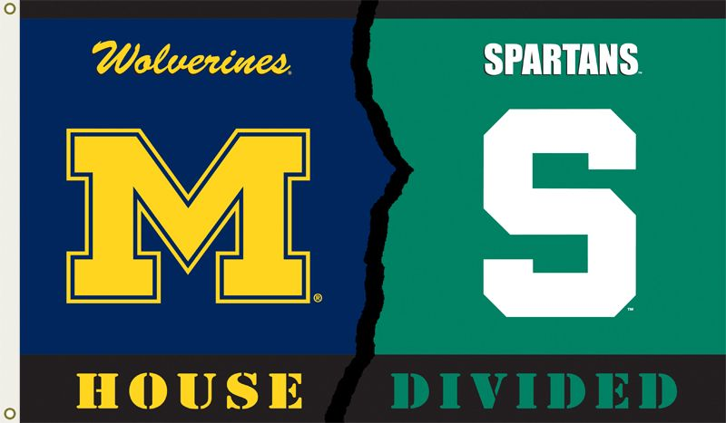 Michigan Wolverines Michigan State House Divided 3 X 5 Flag K95293 Michigan Vs Michigan State House Divided Michigan Wolverines
