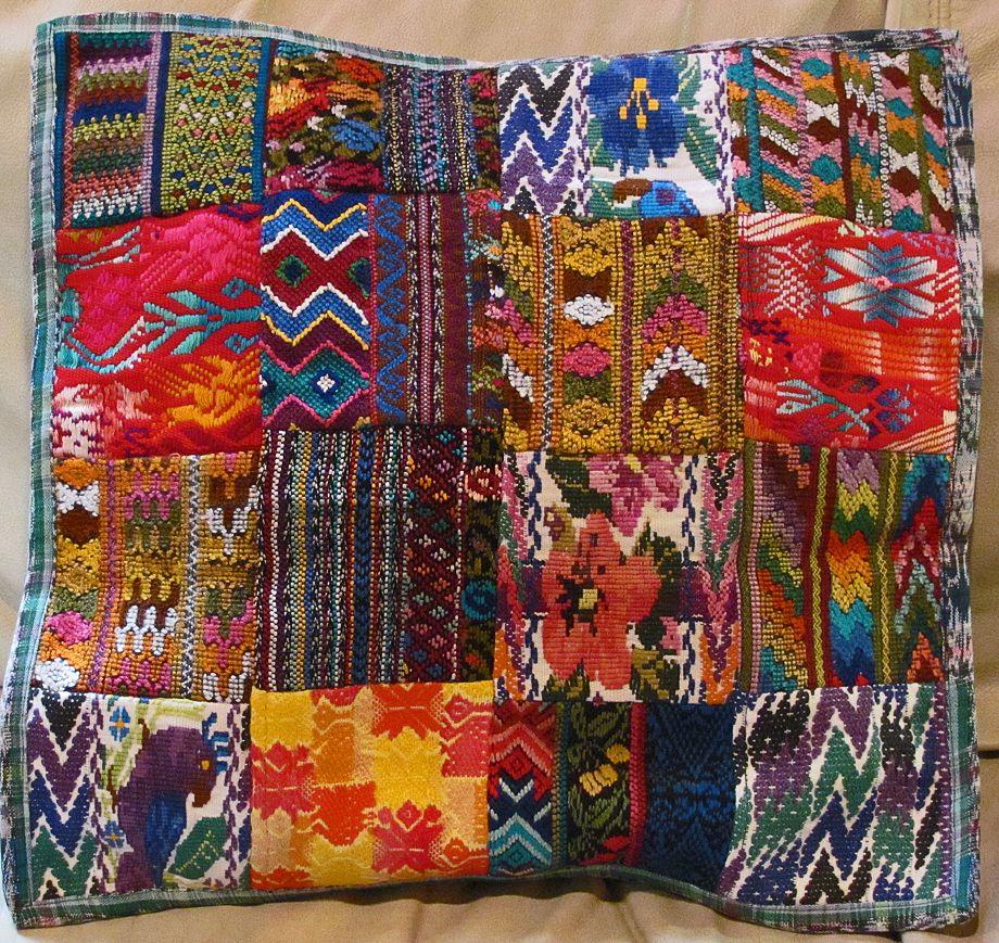 Fair Trade Guatemalan Mixed Huipile Throw Pillow 18 X 18
