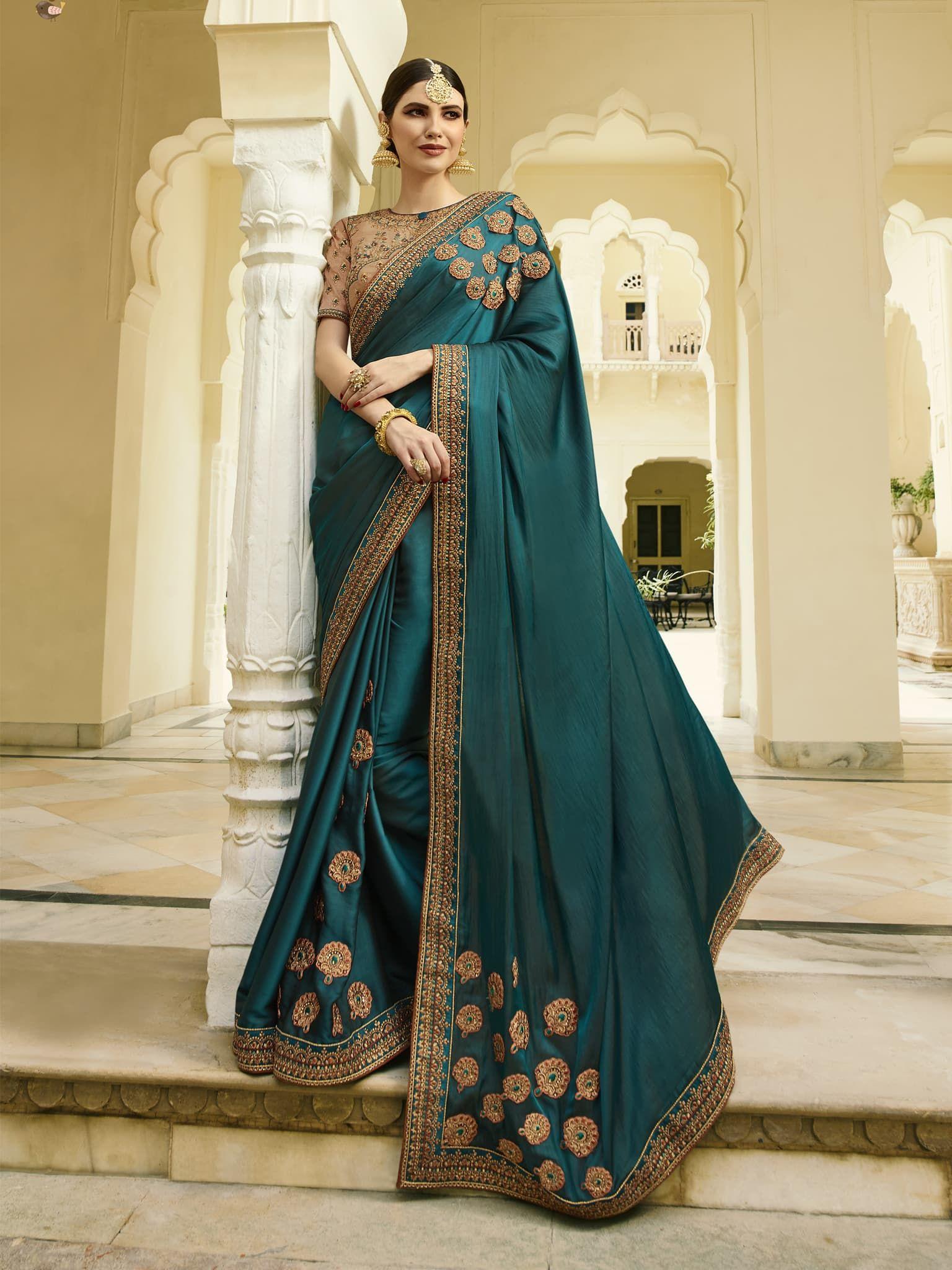 49a89760ed Dark Teal Blue Color Barfi Silk Fabric Saree With 2 Blouse ...