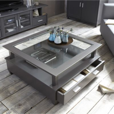 Table basse slate grey 2 grands tiroirs double plateau for Table basse 3 suisses