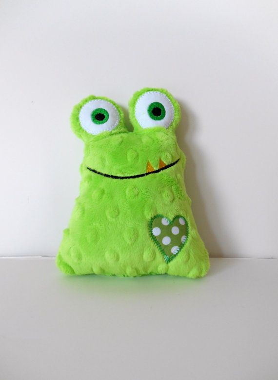 Newest version of my handmade Love Monster minky baby toy for Valentine's Day. Sewn from Shannon Fabrics' dimple dot lime green minky, embroidered and cotton appliqued features. In my shop now.