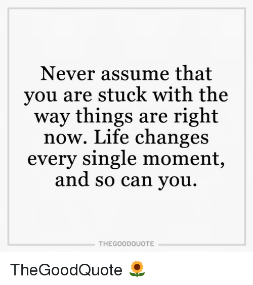 Memes And Good Quotes Never Assume That You Are Stuck With The Way Things Are Right Now Life Changes Every S Quotes To Live By Assuming Quotes Best Quotes