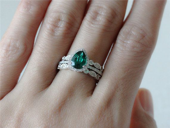 Halo Ring Set of 1.65ct Pear Shaped Emerald Engagement Ring and 2 ...