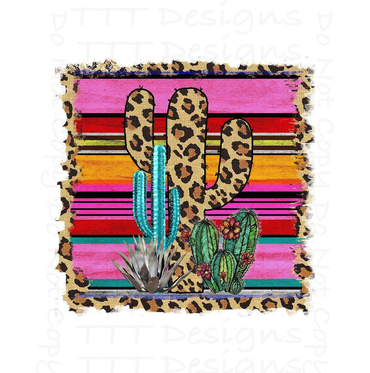 Cactus, Serape, Leopard, Sublimation Transfer, Ready to