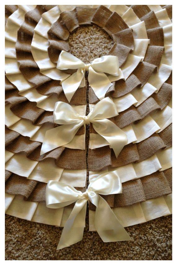 Christmas Tree Skirt/ Burlap Tree Skirt - ruffled, burlap and muslin