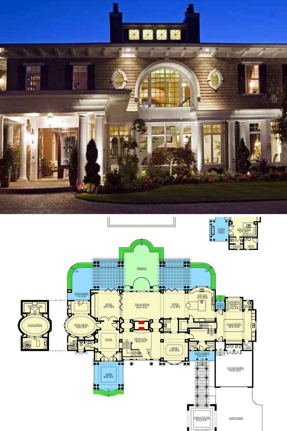 Two Story 4 Bedroom Northwest Home For A Wide Lot With Cabana Clubhouse Floor Plan Mansion Floor Plan Large House Plans House Plans