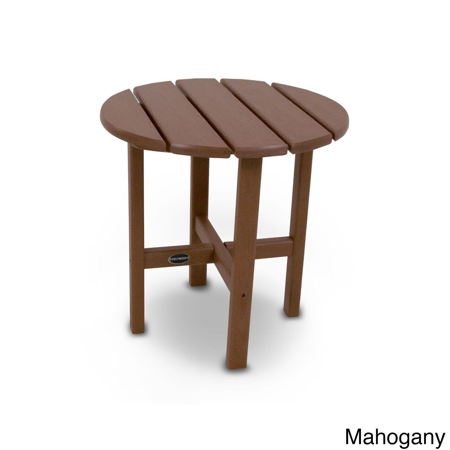 Polywood Round 18 Inch Side Table Mahogany Brown Patio Furniture