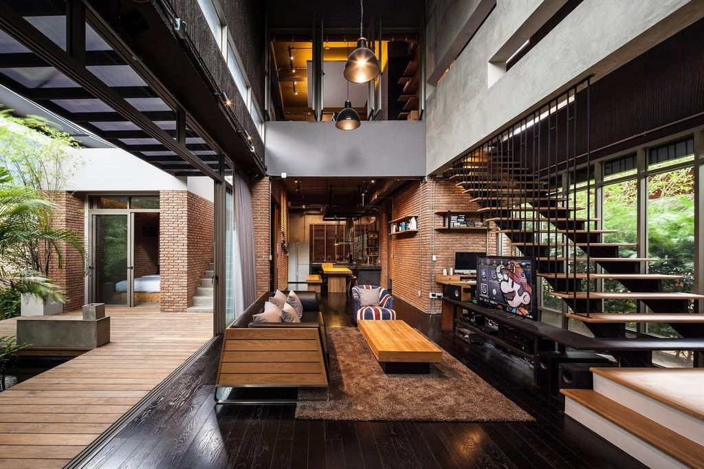 Modern Industrial Home In Bangkok Thailand Two Homes Connected By Patio For Two Brothers Architecture Design Loft Design Modern House Design