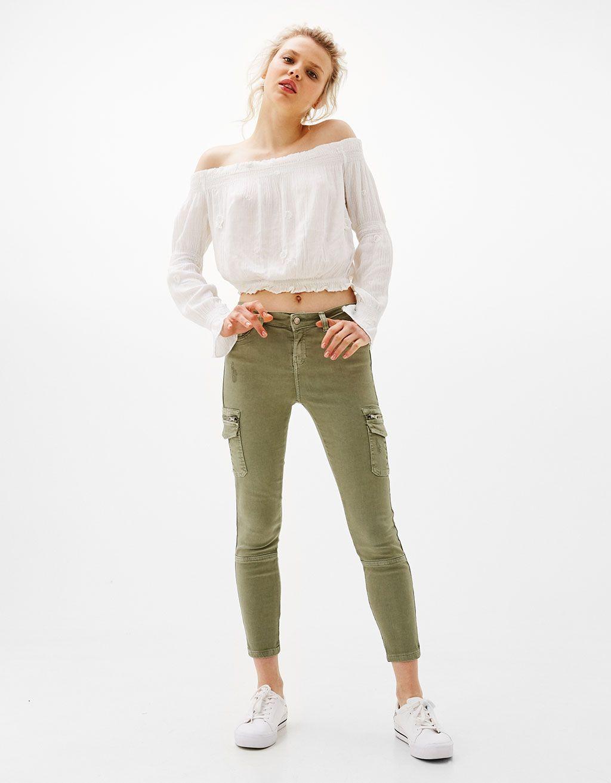 Pantalon Cargo Avec Poches Pantalons Bershka France À¹à¸Ÿà¸Š À¸™