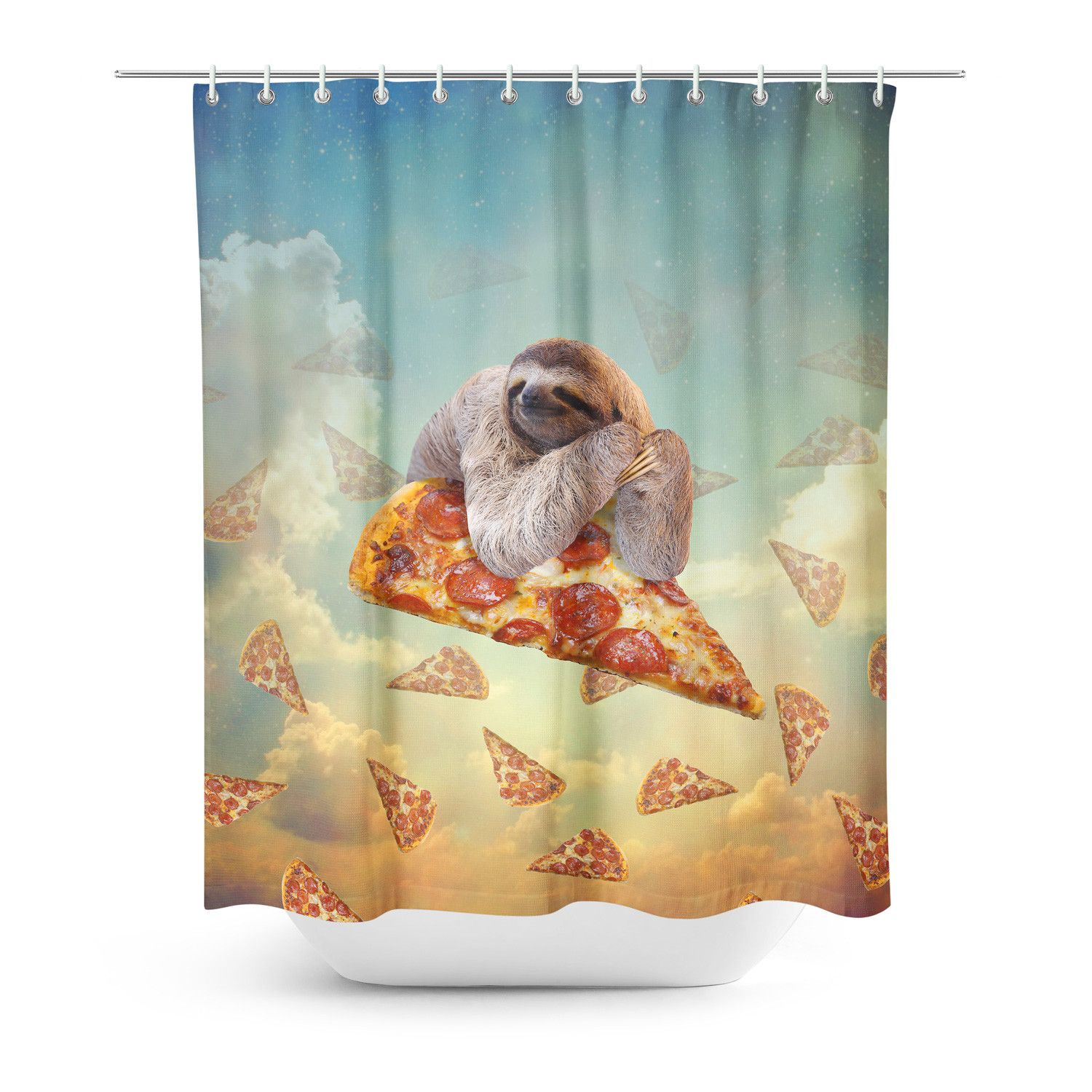 Sloth Pizza Shower Curtain Funny Shower Curtains Sloth Shower