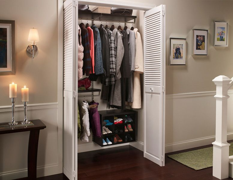 Installing ClosetMaid ShelfTrack Elite In A Coat Closet Creates Plenty Of  Storage For Shoes And Outerwear