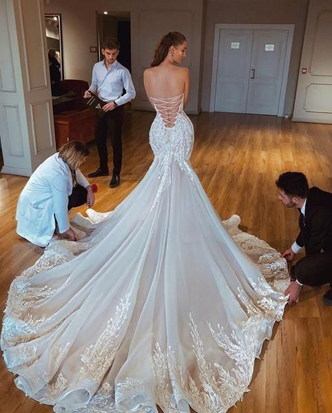 Photo of Luxury Lace Mermaid Backless Applique Straight Neckline Wedding Dresses, FC1925