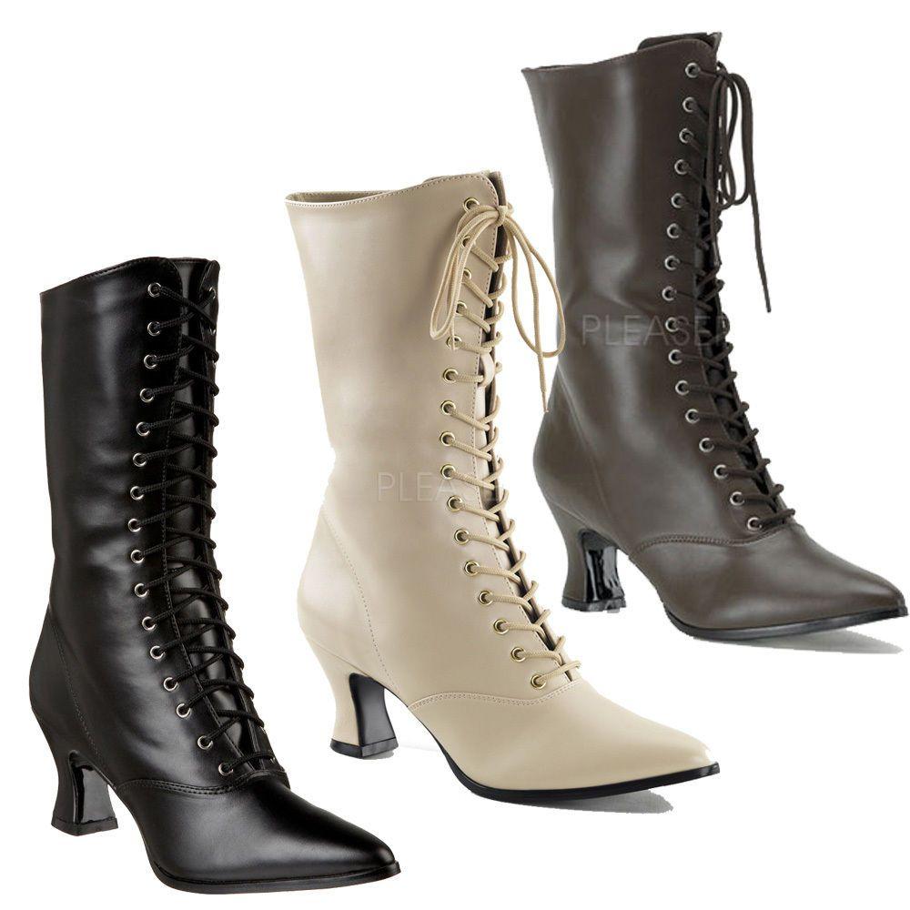 Funtasma Victorian 120 Women S 2 3 4 Kitten Heel Front Lace Up Mid Calf Boot Calf Boots Boots Mid Calf Boots