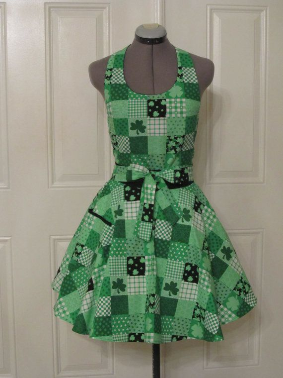 Happy St Pattys Day  Sexy Full ApronHostess by ApronsByVittoria, $35.00