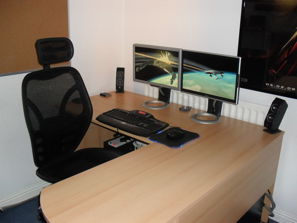 Fancy Home Office Setup With Modern Chairs And Simple Computer Desk Also  Computer