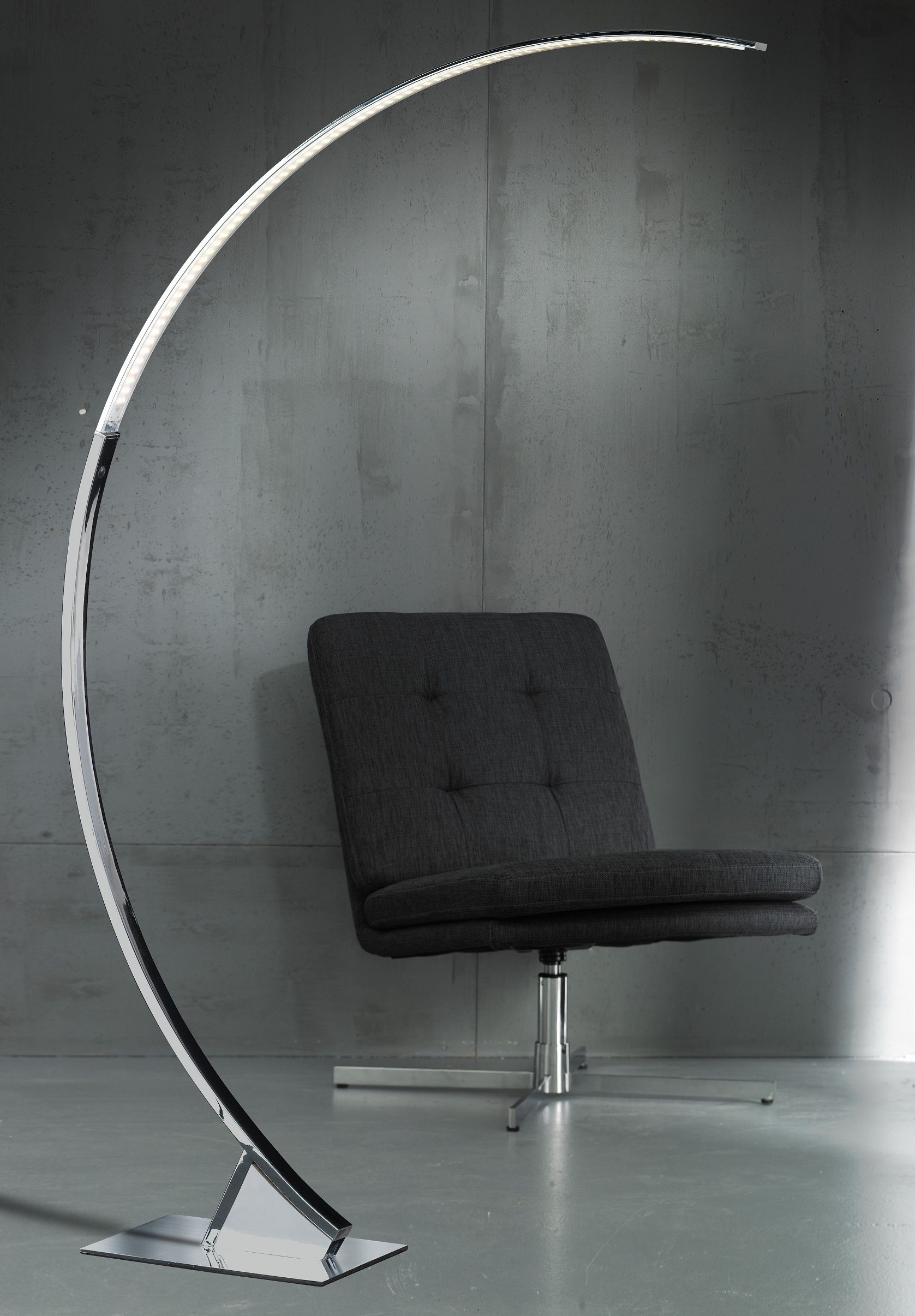 Wofi Arc chrome contemporary floor lamp | Modern Floor Lamps ...