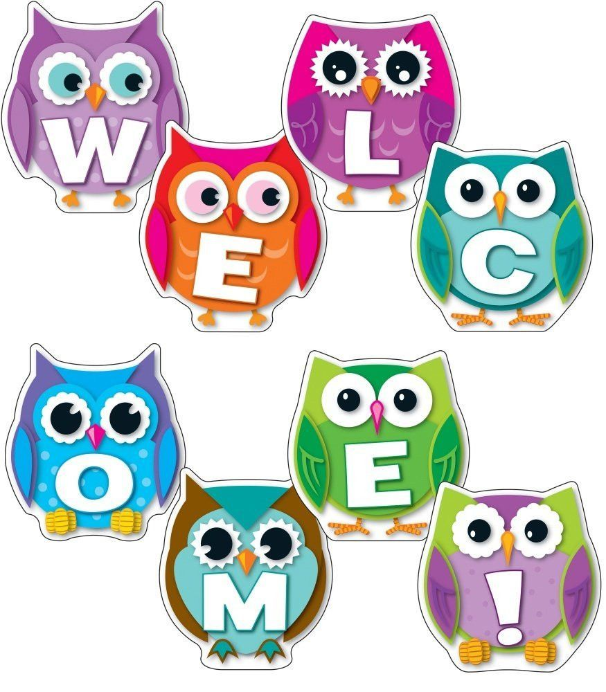 Colorful owl welcome bulletin board set classroom for Owl decorations for the home