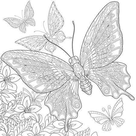 Descargar Zentangle Estilizada Mariposas Ilustracion De Stock 109417304 Malarbocker Mandala Malarbok