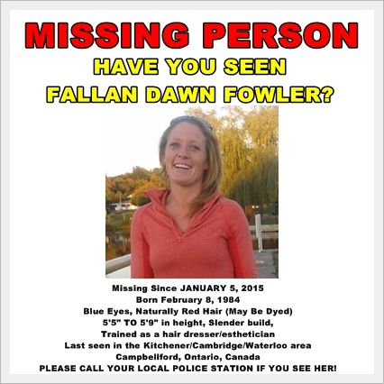 Please contact your local police if you\u0027ve seen Fallan Dawn Fowler - funny missing person poster