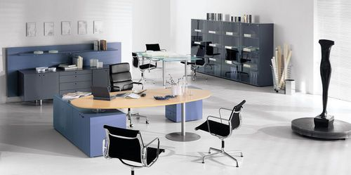 contemporary executive wooden office desk with metal structure - META - ArchiExpo