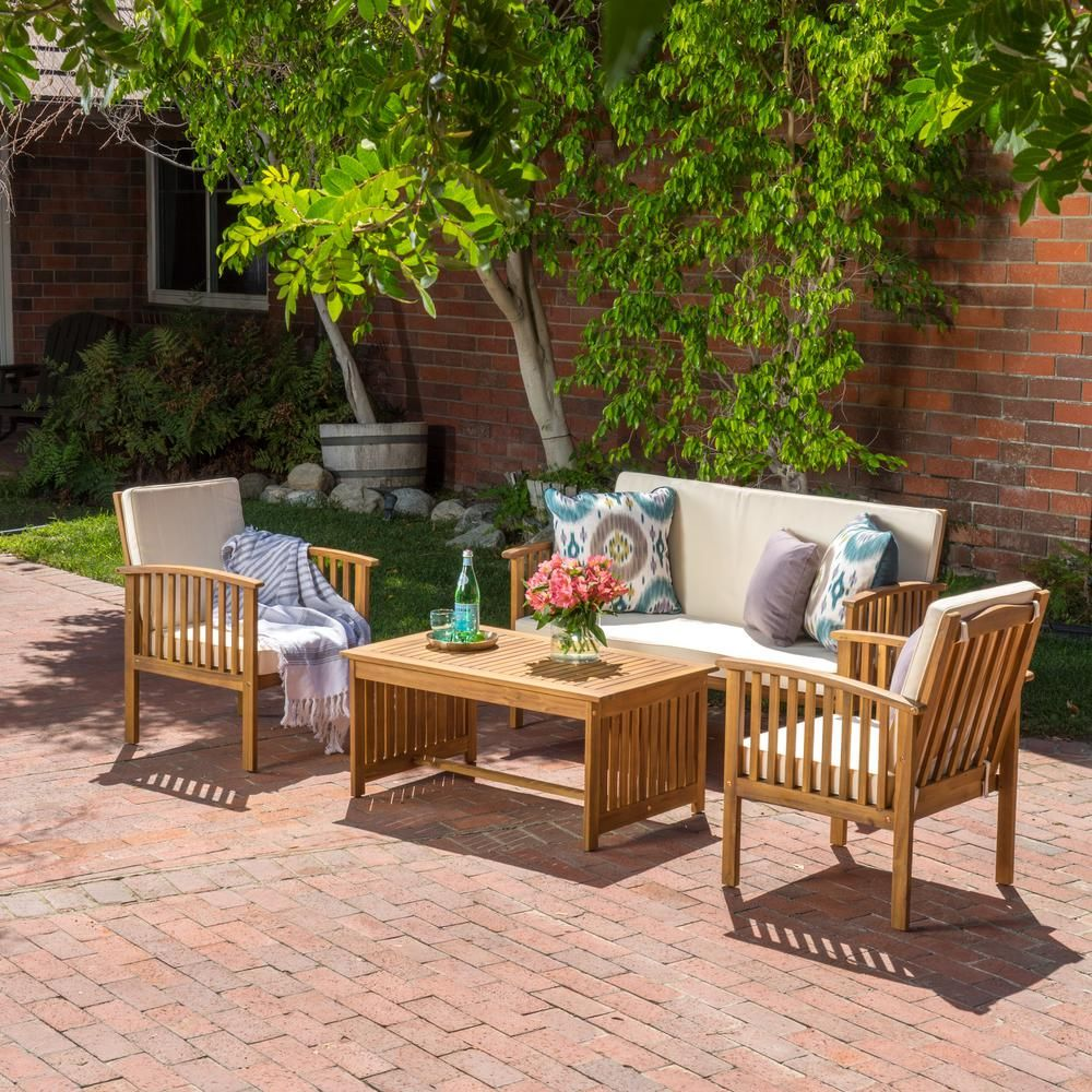 Noble House Carolina Brown 4 Piece Wood Patio Conversation Set With Beige Cushions Outdoor Sofa Sets Conversation Set Patio Wood Patio